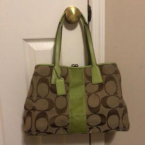 Cream, brown, and lime green Coach purse